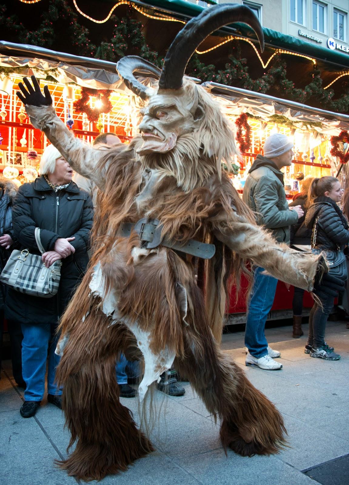 Krampus Run through Munich's Christmas Market