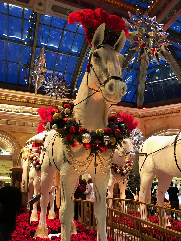 Christmas Horse Decorations.Bellagio Christmas Decorations In Fabulous Las Vegas Nevada